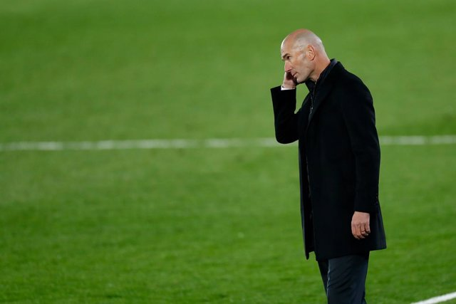 Zinedine Zidane, head coach of Real Madrid, gestures during the spanish league, La Liga Santander, football match played between Real Madrid and Deportivo Alaves at Alfredo Di Stefano stadium on november 28, 2020, in Valdebebas, Madrid, Spain