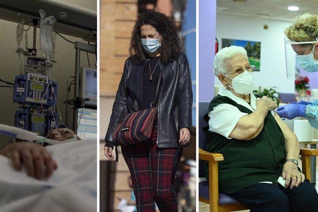 Collage con tres fotos representativas del 2020, año de la pandemia de coronavirus: desde los peores momentos en las UCI, hasta la 'nueva normalidad' y la vacunación.