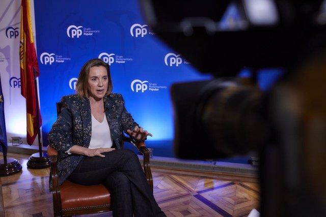 La portavoz del Grupo Popular en el Congreso, Cuca Gamarra, en una entrevista con Europa Press, en Madrid (España), a 30 de diciembre de 2020.