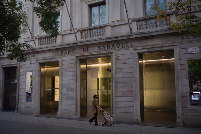 Sede histórica del Banc Sabadell en Sabadell, Barcelona, Catalunya (España).