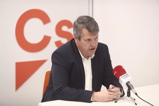 El vicesecretario general de Ciudadanos (Cs), Carlos Cuadrado, durante una entrevista con Europa Press en la sede del partido, en Madrid (España), a 29 de diciembre de 2020.