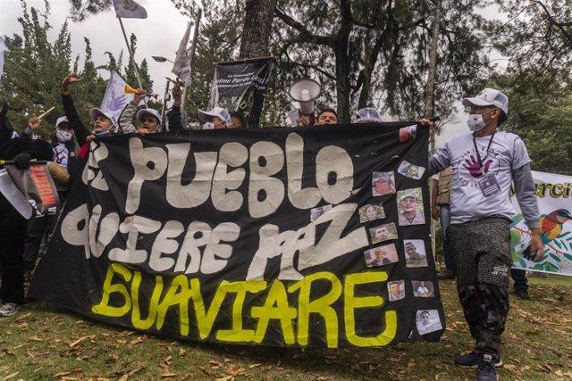 Protesta por el asesinato de antiguos guerrilleros de las Fuerzas Armadas Revolucionarias de Colombia (FARC)