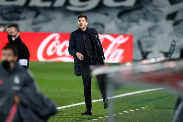 Diego Pablo Simeone, head coach of Atletico de Madrid, gestures during the spanish league, La Liga Santander, football match played between Real Madrid and Atletico de Madrid at Ciudad Deportiva Real Madrid on december 12, 2020, in Valdebebas, Madrid, Spa