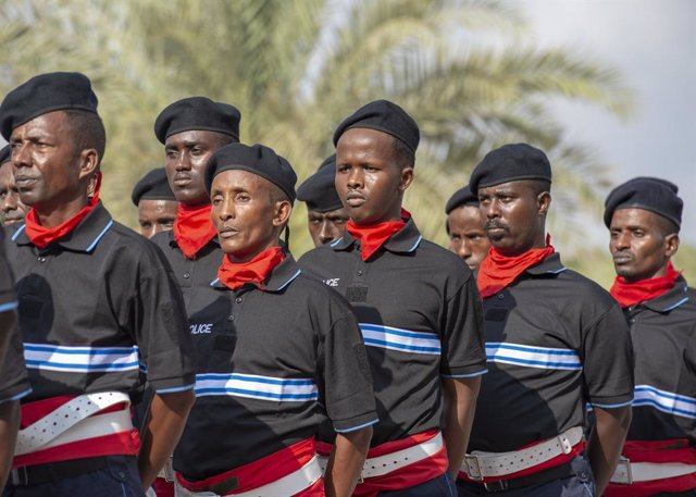 09 April 2019, Djibouti, Djibouti City: Somali Police Officers stand in formation during a graduation ceremony at the Djibouti Police Academy. Photo: Joe Rullo/Planet Pix via ZUMA Wire/dpa