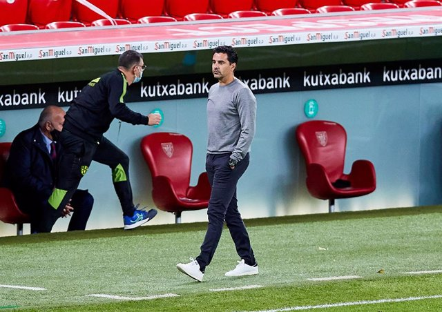 Michel Sanchez, coach of SD Huesca, during the Spanish league, La Liga Santander, football match played between Athletic Club and SD Huesca at San Mames stadium on December 18, 2020 in Bilbao, Spain.