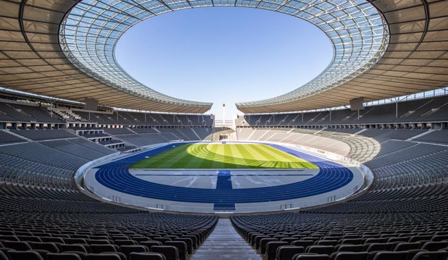 FILED - 23 April 2020, Berlin: A general view of the Olympic Stadium in Berlin.The Olympic Stadium could be changed into a national stadium similar to England's Wembley in the future, according to German architects. Photo: Andreas Gora/dpa