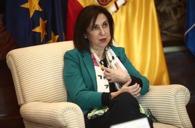 La ministra de Defensa, Margarita Robles, durante una entrevista con Europa Press