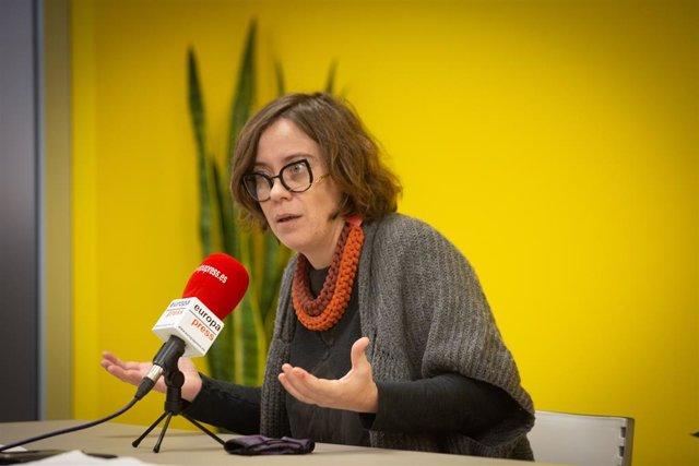 La integrant de la llista de la CUP per Barcelona per a les eleccions catalanes, Eulàlia Reguant, durant una entrevista amb Europa Press, Barcelona (Espanya), 30 de desembre del 2020.