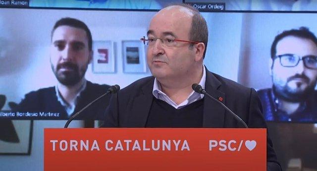 El primer secretari del PSC, Miquel Iceta, durant la seva intervenció en un acte telemàtic amb militants del partit.