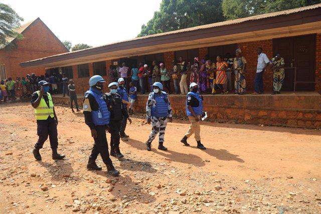 Efectivos de la Misión Unidimensional Integrada de Naciones Unidas para la Estabilización en RCA (MINUSCA) en Bangu