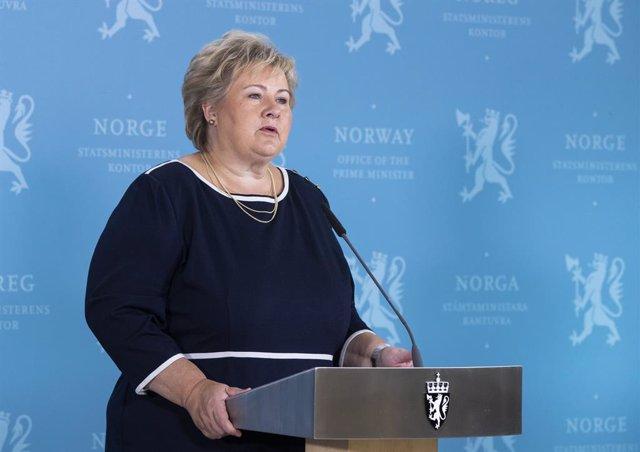 La primera ministra de Noruega, Erna Solberg