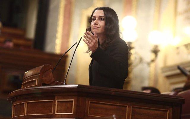 La presidenta de Ciutadans, Inés Arrimadas, a la tribuna del Congrés dels Diputats.