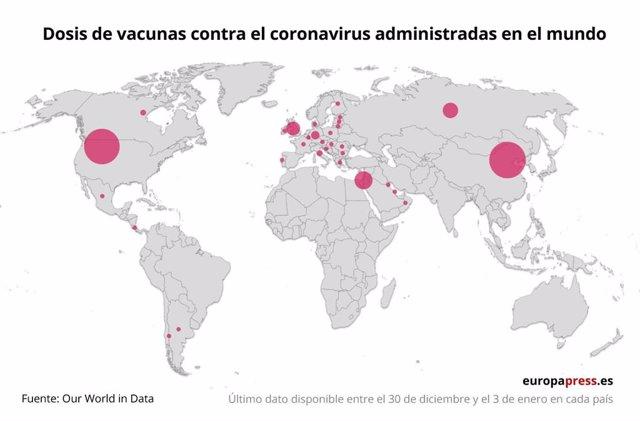 Mapa con dosis de vacunas contra el coronavirus administradas en el mundo