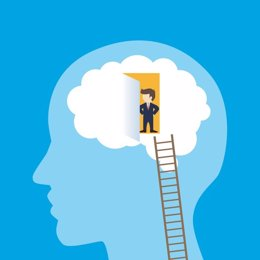 Businessman entering the brain. Vector illustration.