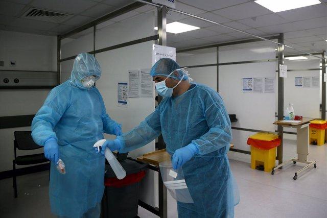Trabajadores sanitarios de Líbano durante la pandemia de coronavirus