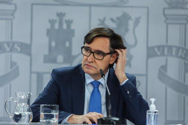 El ministro de Sanidad, Salvador Illa, en rueda de prensa tras la reunión del Consejo Interterritorial del Sistema Nacional de Salud, en Madrid (España), a 4 de enero de 2021.