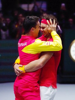 Canada vs Spain, Final, Rafael Nadal of Spain celebrates with Alberto Bautista Agut after winning against Denis Shapovalov of Canada during the Davis Cup 2019, Tennis Madrid Finals 2019 on November 24, 2019 at Caja Magica in Madrid, Spain - Photo Arturo B