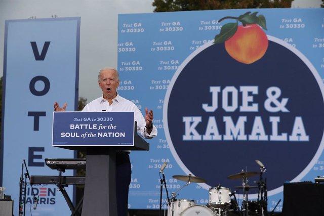 El candidato presidencial demócrata Joe Biden durante un acto de campaña en Atlanta, en el sur de EEUU.