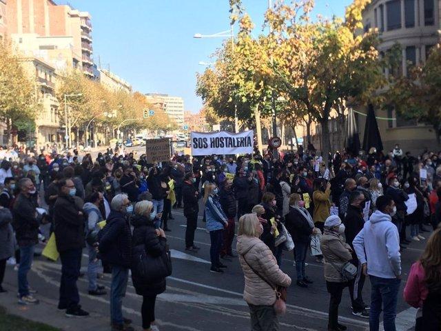 Protesta de la Federació d'Hostaleria de Lleida