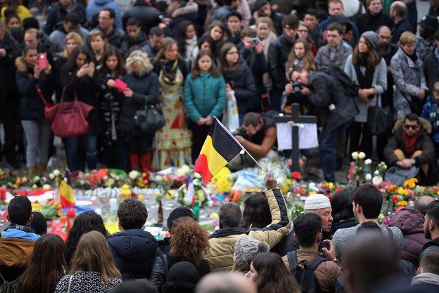 Acto en recuerdo de las víctimas de los atentados de 2016 en la capital de Bélgica, Bruselas