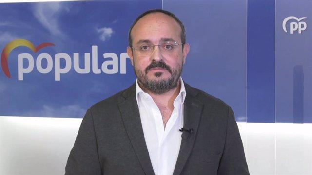 El president del PP català, Alejandro Fernández, en un video difós pel partit.