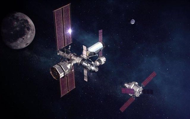 Ilustración de una nave Orion acercándose a la estación orbital lunar Gateway