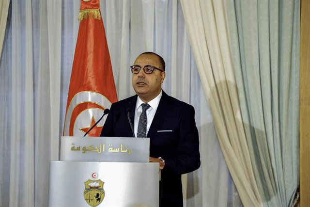 03 September 2020, Tunisia, Tunis: Newly appointed Tunisian Prime Minister Hichem Mechichi speaks during the government handover ceremony. Photo: Chokri Mahjoub/ZUMA Wire/dpa