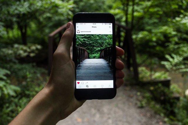 Teléfono móvil fotografiando la naturaleza