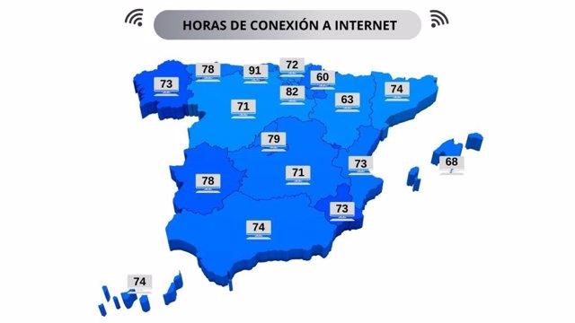 Mapa de horas semanales de media conectados a Internet