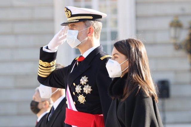 El Rey Felipe VI y la Reina Letizia en la Pascua Militar, a 6 de enero de 2021.