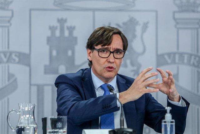 El ministre de Sanitat, Salvador Illa, durant la roda de premsa després de la reunió del Consell Interterritorial del Sistema Nacional de Salut, a Madrid (Espanya), a 4 de gener del 2021.