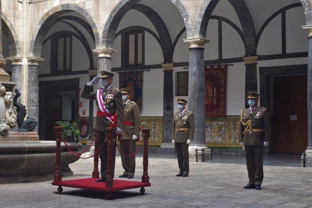 L'inspector general de l'exèrcit, Fernando Aznar Ladrón de Guevara, durant l'acte per la Pasqua Militar a Barcelona.