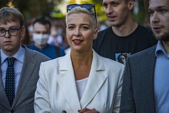 Maria Kolesnikova, dirigente opositora bielorrusa, en una manifestación en Minsk
