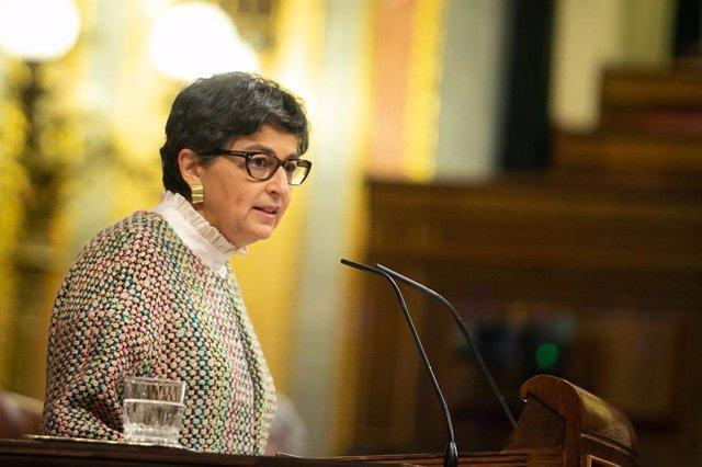 La ministra de Asuntos Exteriores, UE y Cooperación, Arancha González Laya, explica en el Congreso el proyecto de Presupuestos Generales del Estado (PGE) 2021 para su departamento.