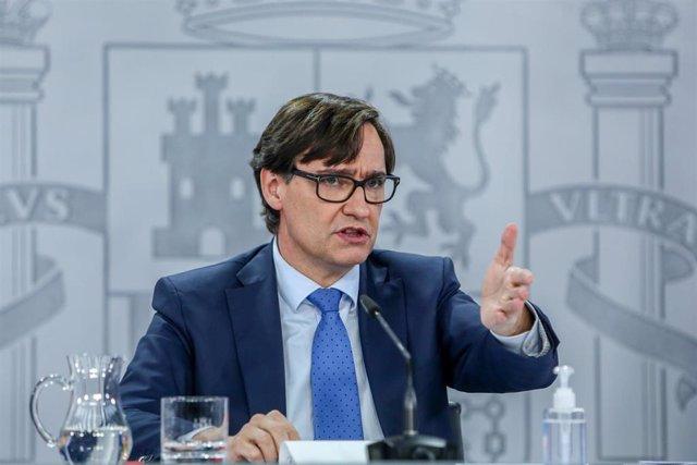 El ministro de Sanidad, Salvador Illa, durante la rueda de prensa tras la reunión del Consejo Interterritorial del Sistema Nacional de Salud, en Madrid (España), a 4 de enero de 2021.