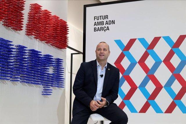 El precandidato a la presidencia del FC Barcelona Xavi Vilajoana en un acto electoral