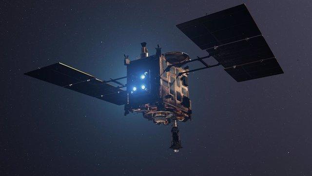 Representación artística de Hayabusa 2 con tres de sus propulsores activados.