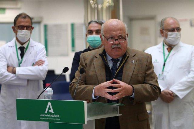 Jesús Aguirre, consejero de Salud y Familias de la Junta de Andalucía, en rueda de prensa en Málaga