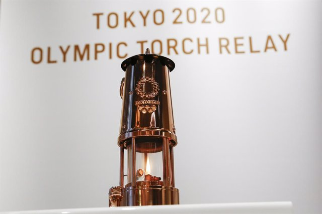 31 August 2020, Japan, Tokyo: A lantern containing the Olympic Flame is on display during a ceremony at the Japan Olympic Museum. Photo: Rodrigo Reyes Marin/ZUMA Wire/dpa
