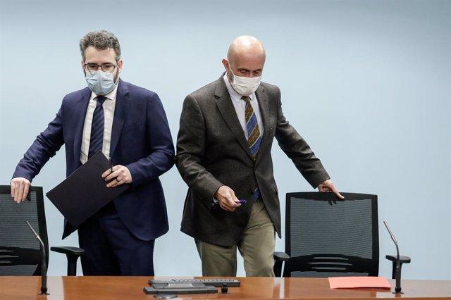 El ministre de Finances i Portaveu, Eric Jover, i el ministre de Salut, Joan Martínez Benazet