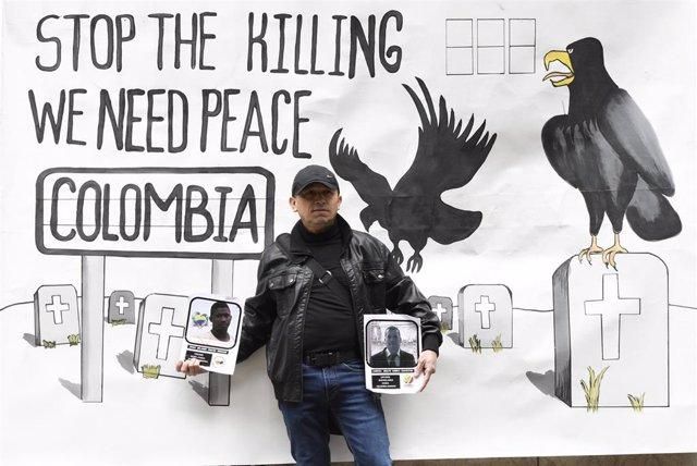Protesta contra los asesinatos de líderes sociales en Colombia.