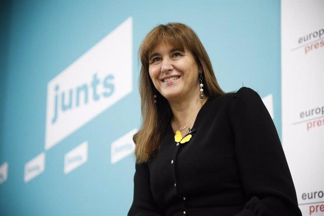 La candidata a la presidència de la Generalitat de JxCat, Laura Borràs, en un Encuentro Digital de Europa Press. Catalunya, (Espanya), 8 de gener del 2021