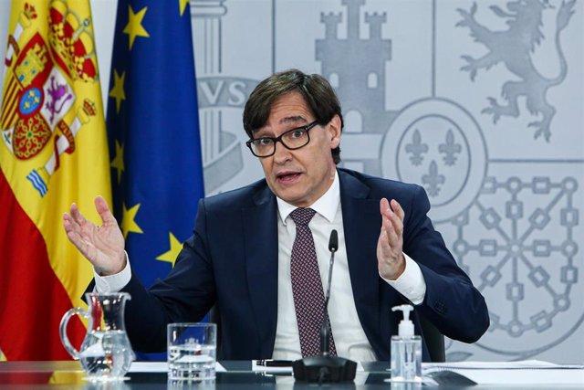 El ministro de Sanidad, Salvador Illa, ofrece una rueda de prensa posterior al Consejo Interterritorial del Sistema Nacional de Salud, en Moncloa, Madrid (España), a 23 de diciembre de 2020.