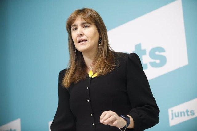 La candidata a la presidència de la Generalitat de JxCat, Laura Borràs, intervé en un Encuentro Digital de Europa Press. Catalunya (Espanya), 8 de gener del 2021.