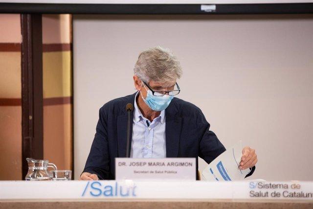 El secretari de Salut Pública de la Generalitat, Josep Maria Argimon, ofereix una roda de premsa a la Conselleria de Salut sobre l'evolució de la pandèmia. Barcelona, Catalunya (Espanya), 22 de setembre del 2020.