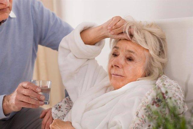 Enferma, mayor, neumonía