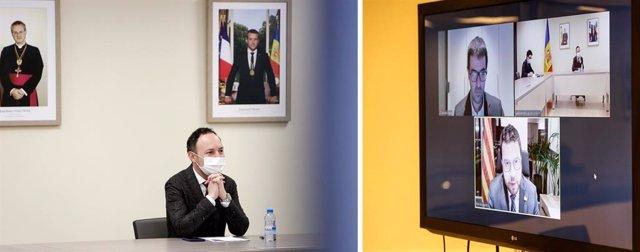 El cap de Govern d'Andorra, Xavier Espot, durant la reunió telemàtica amb Pere Aragonès.