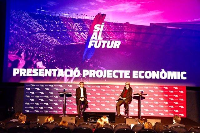 Presentación del proyecto económico de 'Sí al Futur', precandidatura que lidera el precandidato a las elecciones presidenciales del FC Barcelona Víctor Font