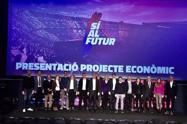 Eequipo económico de la precandidatura 'Sí al Futur', que encabeza el precandidato a las elecciones del FC Barcelona Víctor Font