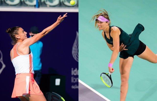 Sara Sorribes y Paula Badosa en el torneo de Abu Dabi de la WTA